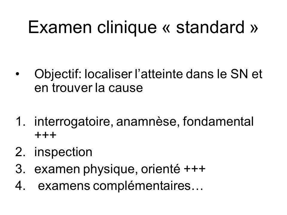 Examen clinique « standard » Objectif: localiser latteinte dans le SN et en trouver la cause 1.interrogatoire, anamnèse, fondamental +++ 2.inspection