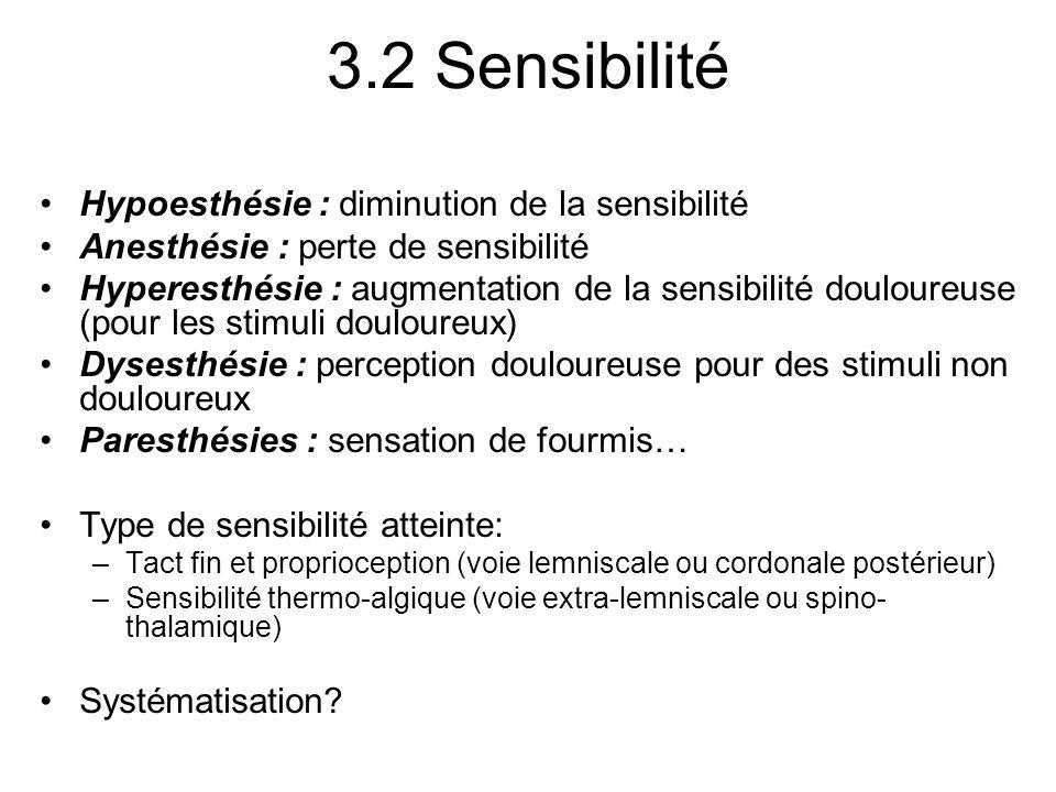 3.2 Sensibilité Hypoesthésie : diminution de la sensibilité Anesthésie : perte de sensibilité Hyperesthésie : augmentation de la sensibilité douloureu