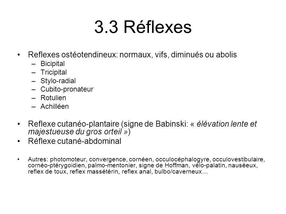 3.3 Réflexes Reflexes ostéotendineux: normaux, vifs, diminués ou abolis –Bicipital –Tricipital –Stylo-radial –Cubito-pronateur –Rotulien –Achilléen Re