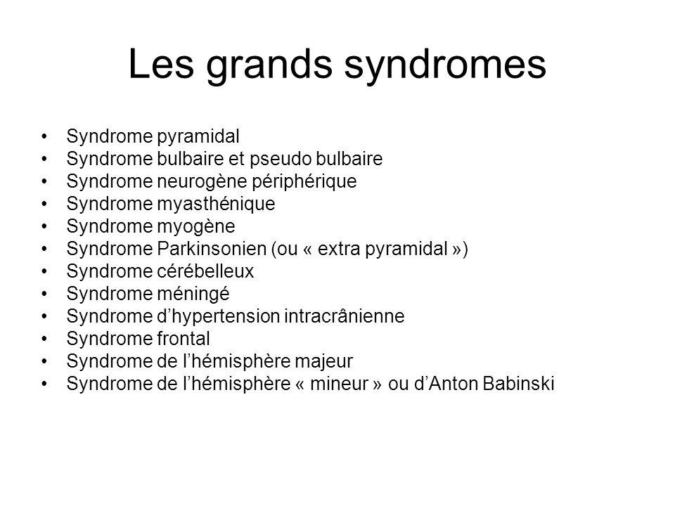 Les grands syndromes Syndrome pyramidal Syndrome bulbaire et pseudo bulbaire Syndrome neurogène périphérique Syndrome myasthénique Syndrome myogène Sy