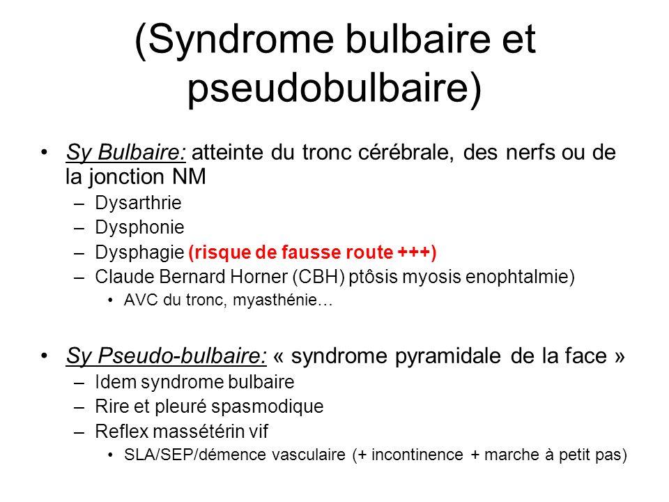 (Syndrome bulbaire et pseudobulbaire) Sy Bulbaire: atteinte du tronc cérébrale, des nerfs ou de la jonction NM –Dysarthrie –Dysphonie –Dysphagie (risq