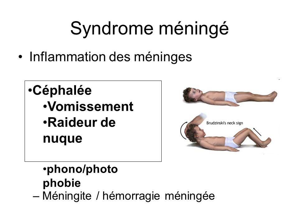 Syndrome méningé Inflammation des méninges –Méningite / hémorragie méningée Céphalée Vomissement Raideur de nuque phono/photo phobie
