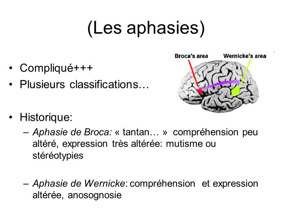 (Les aphasies) Compliqué+++ Plusieurs classifications… Historique: –Aphasie de Broca: « tantan… » compréhension peu altéré, expression très altérée: m