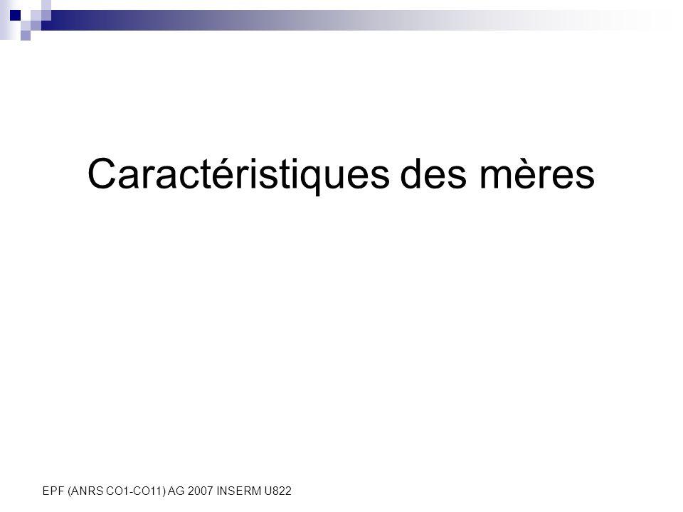 EPF (ANRS CO1-CO11) AG 2007 INSERM U822 Caractéristiques des mères