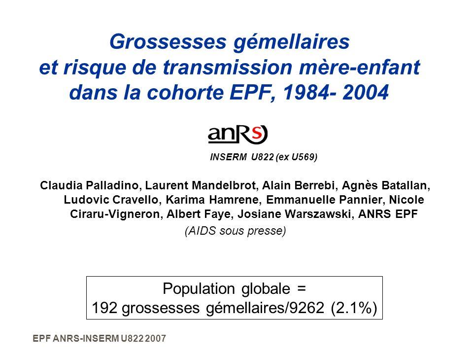 EPF ANRS-INSERM U822 2007 Grossesses gémellaires et risque de transmission mère-enfant dans la cohorte EPF, 1984- 2004 Claudia Palladino, Laurent Mand