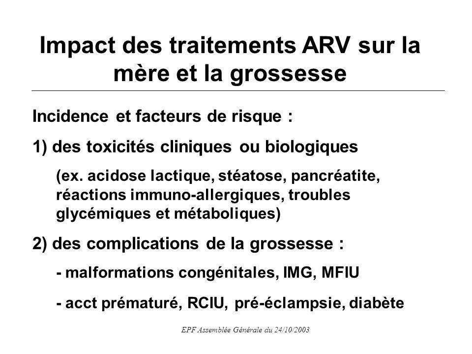 EPF Assemblée Générale du 24/10/2003 Incidence et facteurs de risque : 1) des toxicités cliniques ou biologiques (ex.