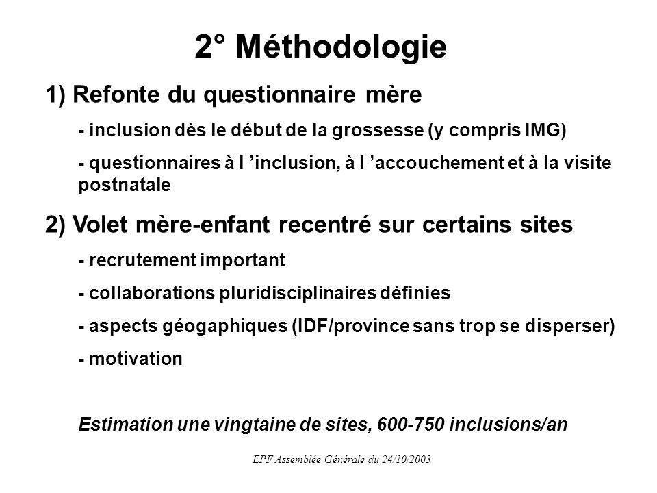 EPF Assemblée Générale du 24/10/2003 3) Amélioration de la saisie et du monitorage - efficacité (coût/bénéfice et rapidité) - réactivité - accélération du circuit de saisie et monitorage Méthodologie (suite et fin)
