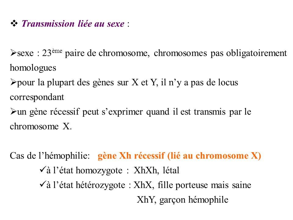 Transmission liée au sexe : sexe : 23 ème paire de chromosome, chromosomes pas obligatoirement homologues pour la plupart des gènes sur X et Y, il ny