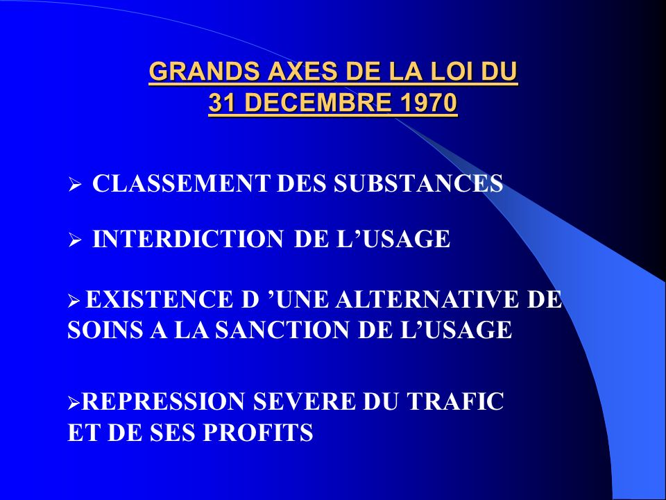 GRANDS AXES DE LA LOI DU 31 DECEMBRE 1970 CLASSEMENT DES SUBSTANCES INTERDICTION DE LUSAGE EXISTENCE D UNE ALTERNATIVE DE SOINS A LA SANCTION DE LUSAG