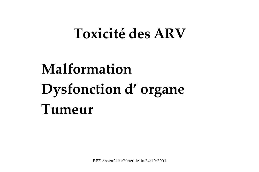 EPF Assemblée Générale du 24/10/2003 ARV in utero et cancer Octobre 2003 Exposition ARV DijonPinealoblastome+ BordeauxRétinoblastome+ MarseilleRétinoblastome+ Paris R.DLymphome+ BrestLeucémie+ AmiensAstrocytome+