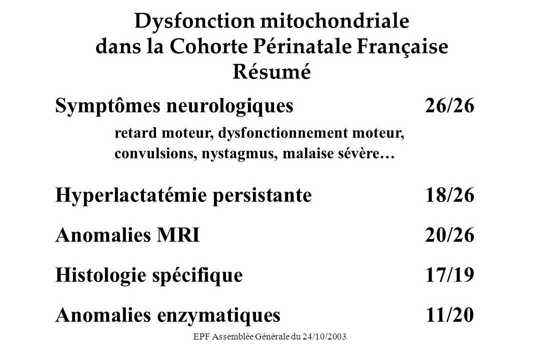 EPF Assemblée Générale du 24/10/2003 Données sur toxicité mitochondriale récemment publiées Réduction persistante de la Q de mt DNA dans lymphocytes Poirier J of AIDS 2003;33:175-83 Réduction de la Q de mt DNA dans lymphocytes et placenta Shiramizu J of AIDS 2003;32:370-4 Hyperlactatémie fréquente et persistante Alimenti Ped Inf Dis J 2003;22:33-6 Pas de dysfonction mitochondriale, pas daugmentation du risque de convulsion fébrile Newell J of AIDS 2003;32:380-7