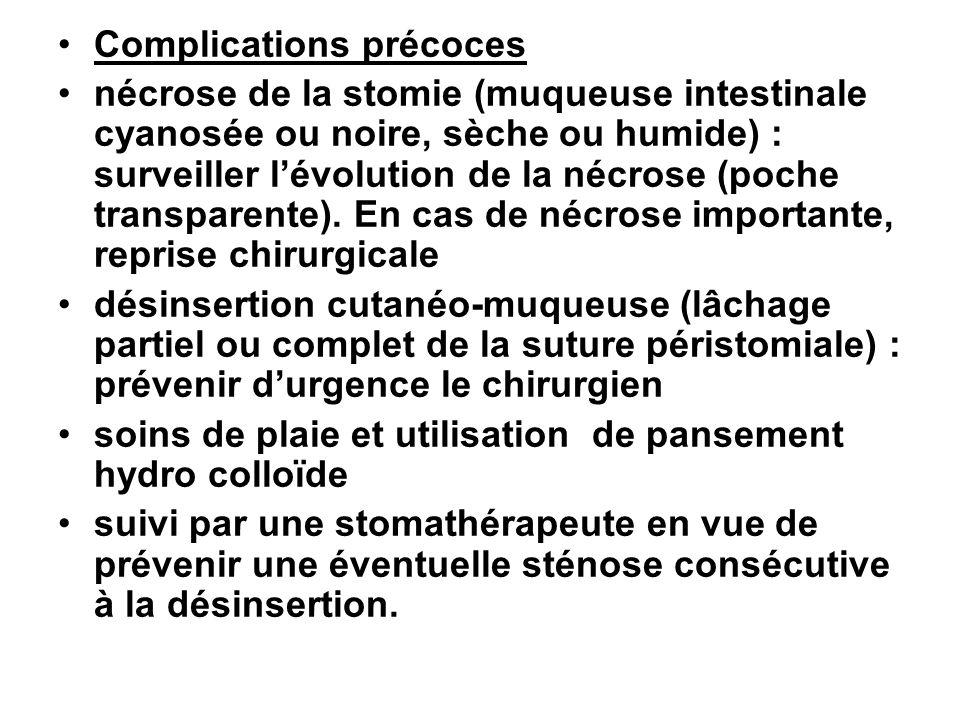 Complications précoces nécrose de la stomie (muqueuse intestinale cyanosée ou noire, sèche ou humide) : surveiller lévolution de la nécrose (poche tra