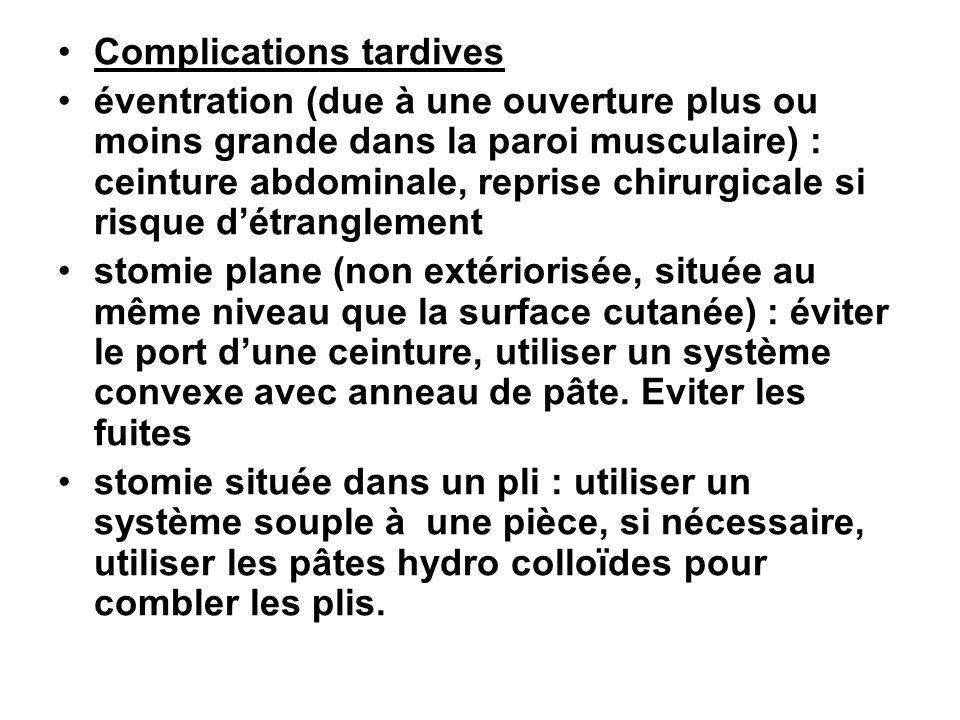 Complications tardives éventration (due à une ouverture plus ou moins grande dans la paroi musculaire) : ceinture abdominale, reprise chirurgicale si