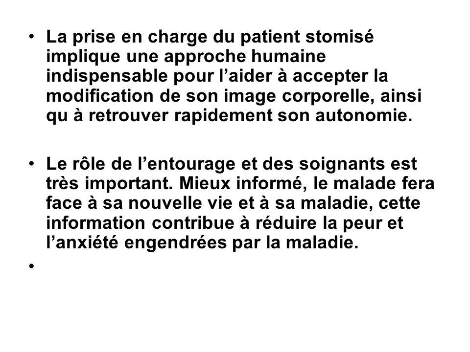 La prise en charge du patient stomisé implique une approche humaine indispensable pour laider à accepter la modification de son image corporelle, ains
