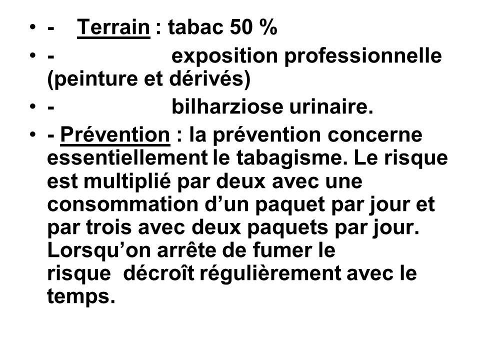 -Terrain : tabac 50 % - exposition professionnelle (peinture et dérivés) - bilharziose urinaire. - Prévention : la prévention concerne essentiellement