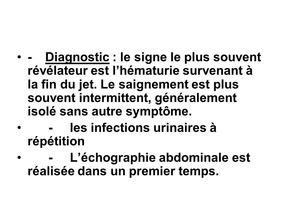 -Diagnostic : le signe le plus souvent révélateur est lhématurie survenant à la fin du jet. Le saignement est plus souvent intermittent, généralement