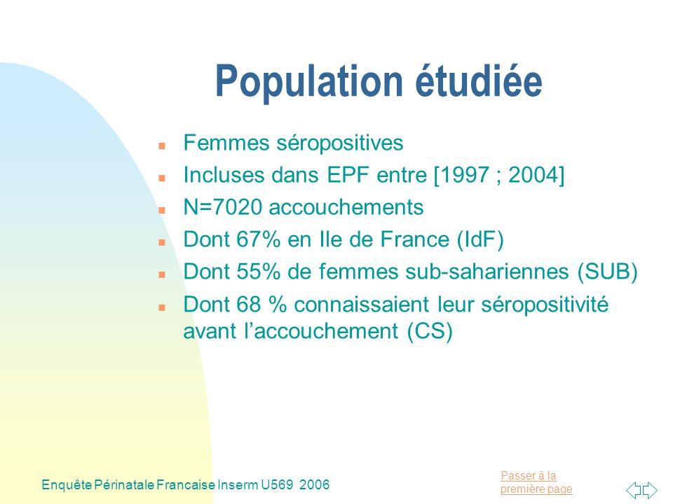 Passer à la première page Enquête Périnatale Francaise Inserm U569 2006 Population étudiée n Femmes séropositives n Incluses dans EPF entre [1997 ; 2004] n N=7020 accouchements n Dont 67% en Ile de France (IdF) n Dont 55% de femmes sub-sahariennes (SUB) n Dont 68 % connaissaient leur séropositivité avant laccouchement (CS)