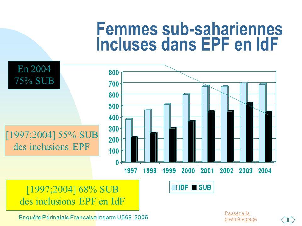 Passer à la première page Enquête Périnatale Francaise Inserm U569 2006 Femmes EPF connaissant sa Séropositivité (CS) en IdF En 2004 72% CS [1997;2004] 66% CS des inclusions EPF en IdF [1997;2004] 69% CS des inclusions EPF