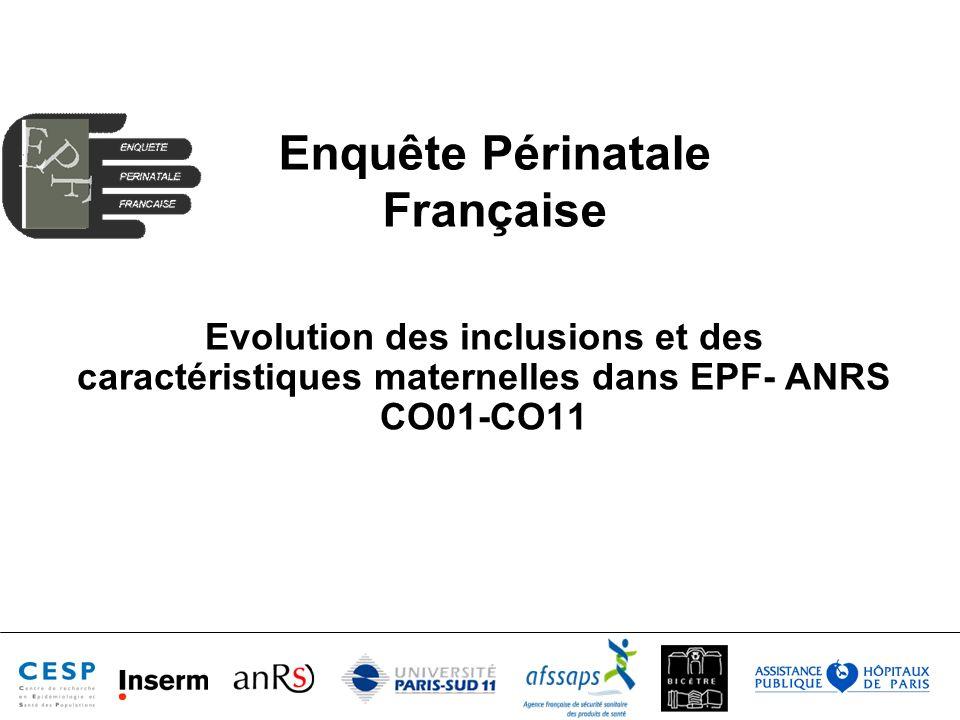 Enquête Périnatale Française Evolution des inclusions et des caractéristiques maternelles dans EPF- ANRS CO01-CO11