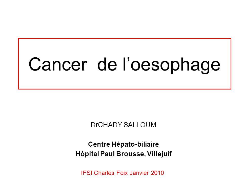 Cancer de loesophage DrCHADY SALLOUM Centre Hépato-biliaire Hôpital Paul Brousse, Villejuif IFSI Charles Foix Janvier 2010