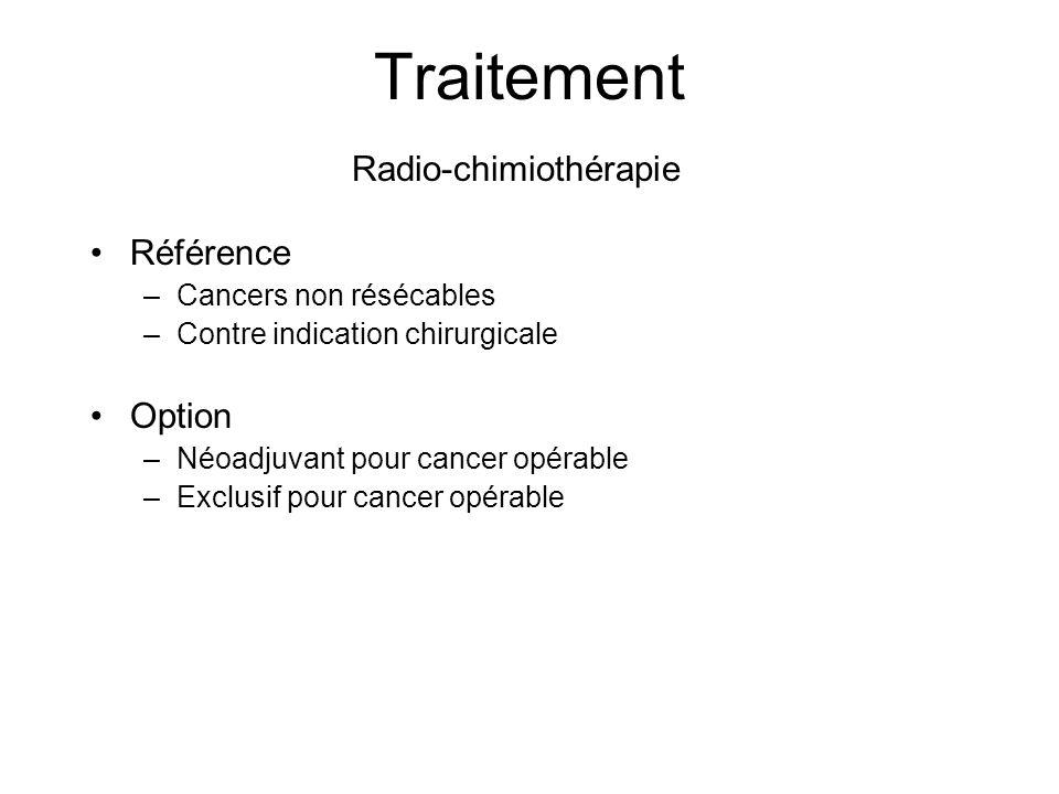 Traitement Référence –Cancers non résécables –Contre indication chirurgicale Option –Néoadjuvant pour cancer opérable –Exclusif pour cancer opérable R
