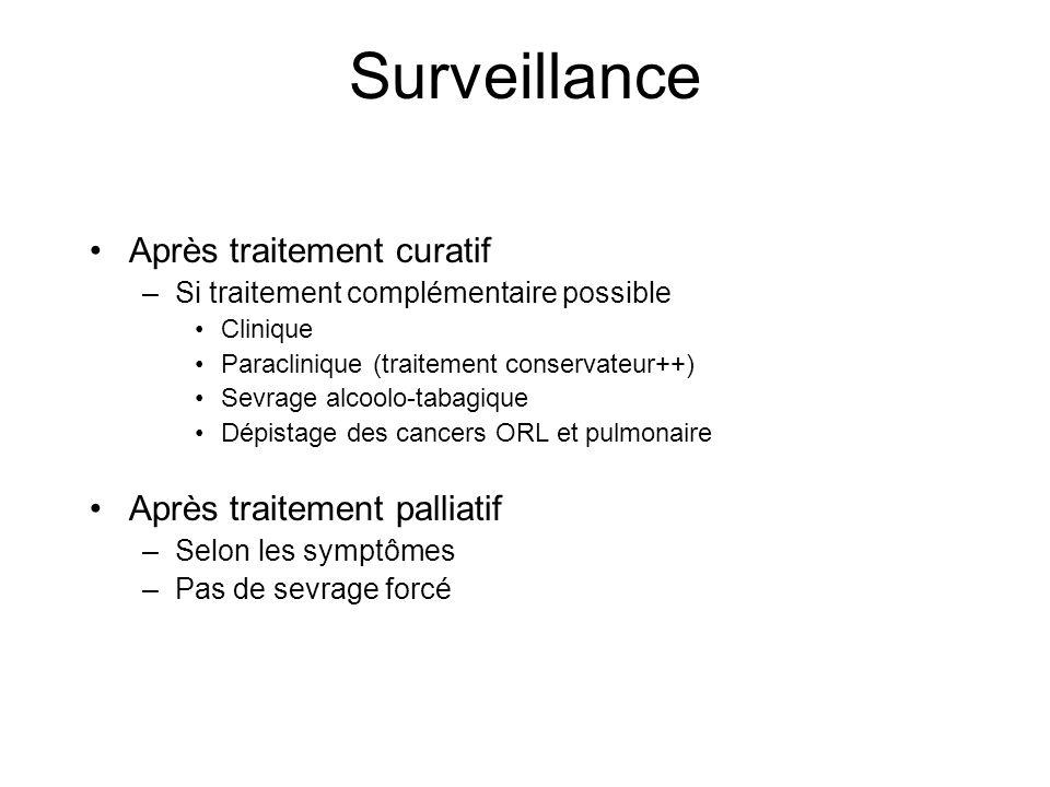 Surveillance Après traitement curatif –Si traitement complémentaire possible Clinique Paraclinique (traitement conservateur++) Sevrage alcoolo-tabagiq