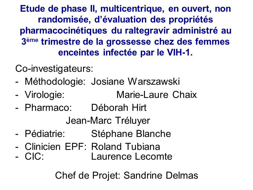Co-investigateurs: -Méthodologie:Josiane Warszawski -Virologie:Marie-Laure Chaix -Pharmaco: Déborah Hirt Jean-Marc Tréluyer -Pédiatrie:Stéphane Blanch