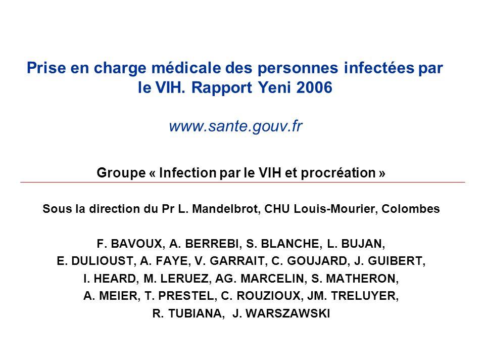 Prise en charge médicale des personnes infectées par le VIH. Rapport Yeni 2006 www.sante.gouv.fr Groupe « Infection par le VIH et procréation » Sous l