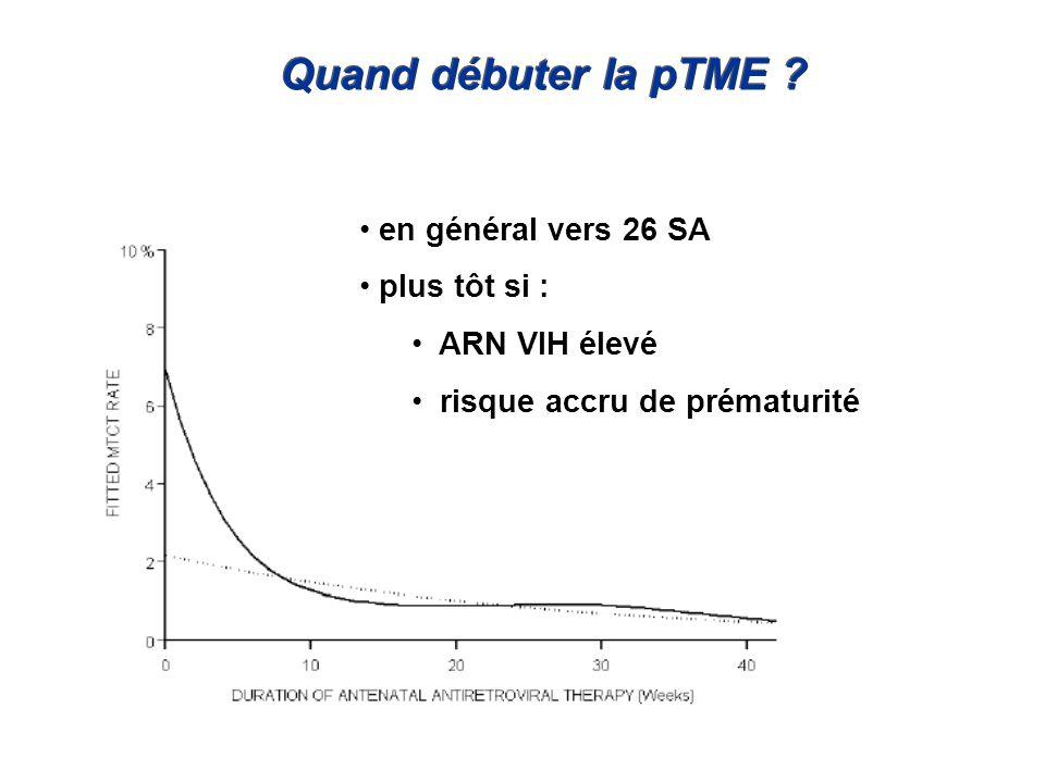 Quand débuter la pTME ? en général vers 26 SA plus tôt si : ARN VIH élevé risque accru de prématurité