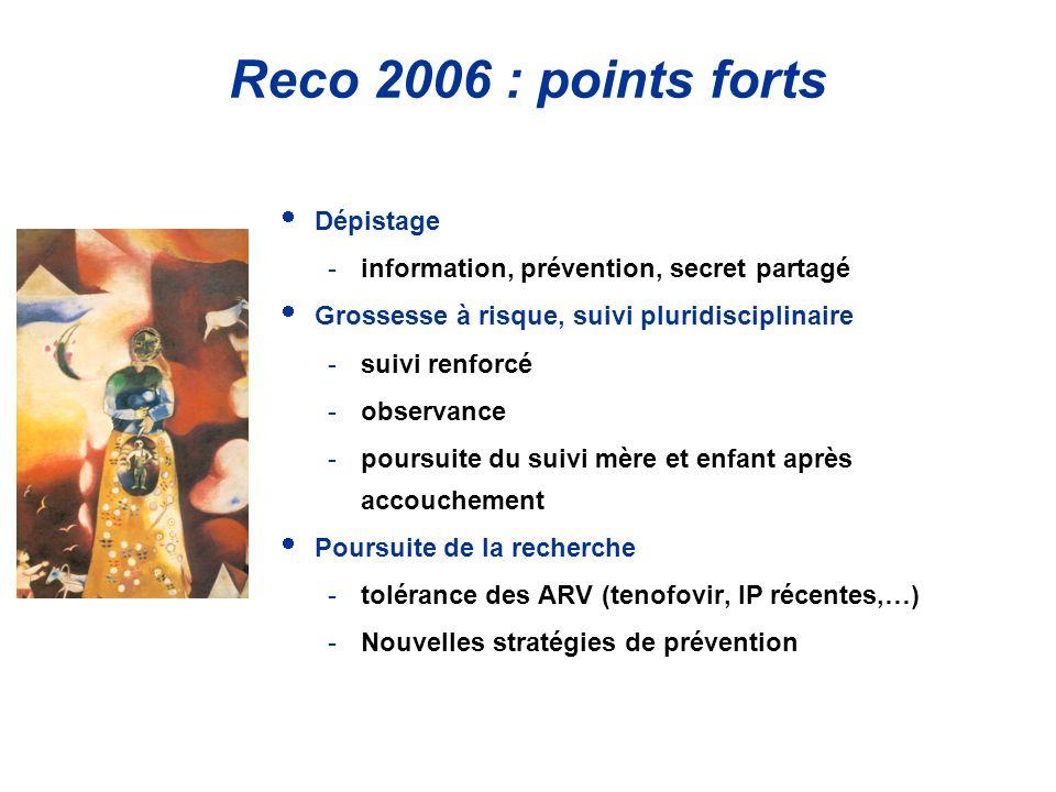 Reco 2006 : points forts Dépistage -information, prévention, secret partagé Grossesse à risque, suivi pluridisciplinaire -suivi renforcé -observance -poursuite du suivi mère et enfant après accouchement Poursuite de la recherche -tolérance des ARV (tenofovir, IP récentes,…) -Nouvelles stratégies de prévention