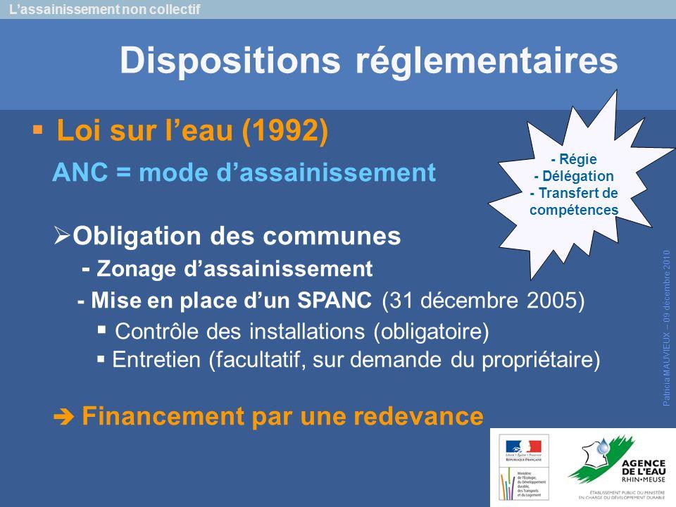 Loi sur leau (1992) Lassainissement non collectif Patricia MAUVIEUX – 09 décembre 2010 Dispositions réglementaires ANC = mode dassainissement Obligati