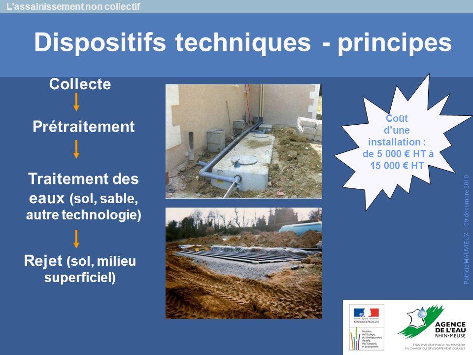 Lassainissement non collectif Patricia MAUVIEUX – 09 décembre 2010 Dispositifs techniques - principes Collecte Traitement des eaux (sol, sable, autre