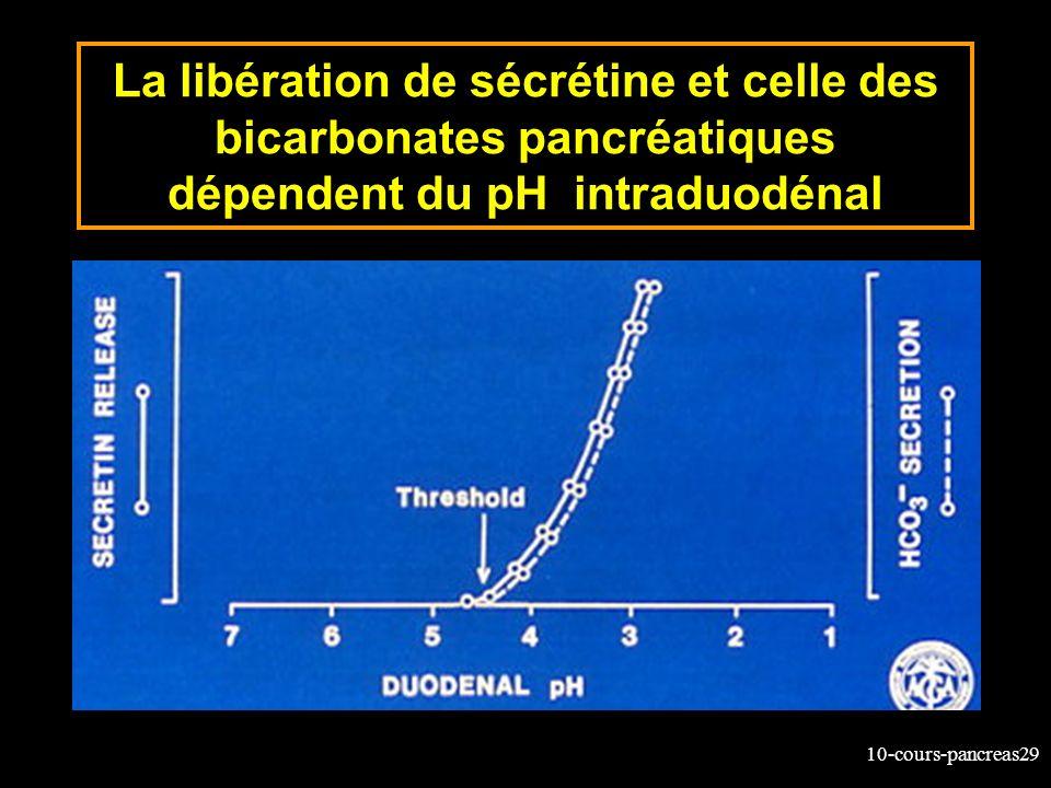 10-cours-pancreas29 La libération de sécrétine et celle des bicarbonates pancréatiques dépendent du pH intraduodénal
