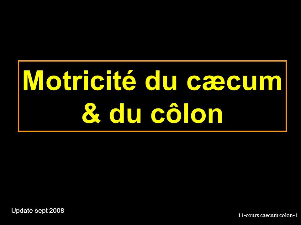 11-cours caecum colon-42 Défécation Le rectum est normalement vide –Sphincter entre lanus et le sigmoïde Le rectum est rempli par les mouvements «en masse» du côlon ce qui déclenche le besoin dexonération Sphincter anal –Interne : lisse –externe: strié à contractions volontaires