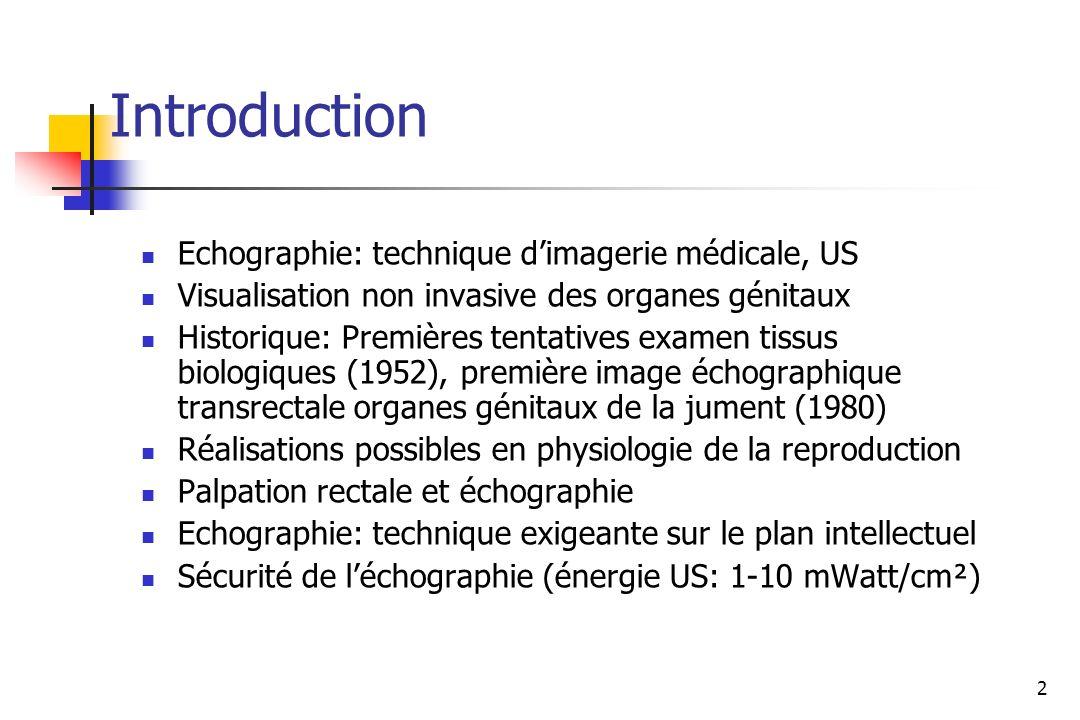 2 Introduction Echographie: technique dimagerie médicale, US Visualisation non invasive des organes génitaux Historique: Premières tentatives examen t