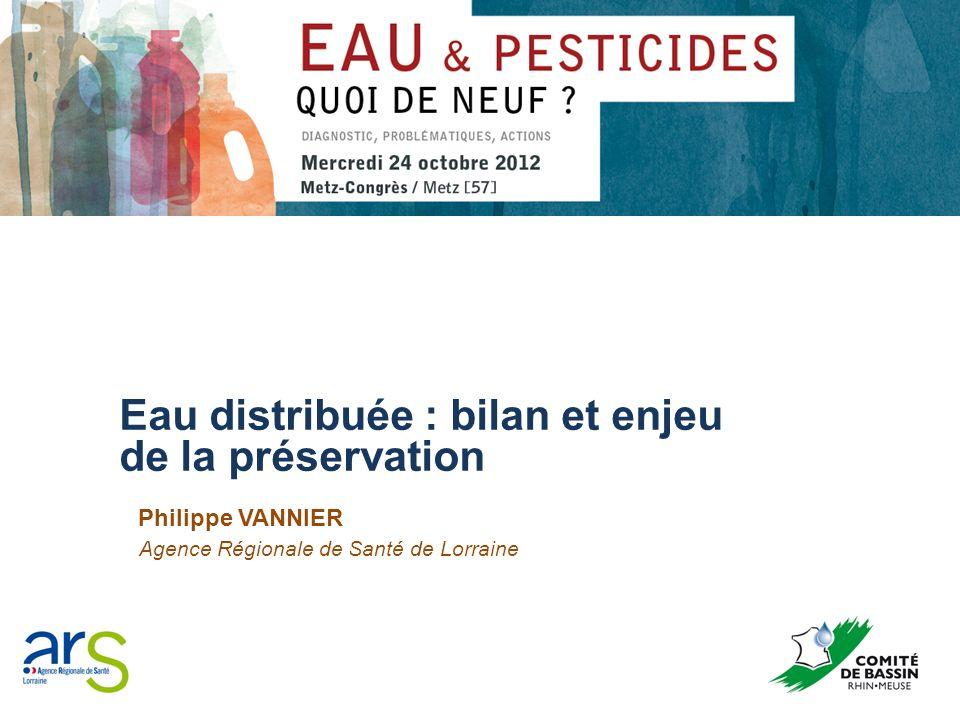 Bilan qualité eaux distribuées sur le bassin Rhin-Meuse pour les pesticides (5) EVOLUTION SUR LE BASSIN RHIN-MEUSE 2010 / 2011 ANNEE20102011 Nombre UDI non conformes (NC0+NC1+NC2)332,08%593,61% Populations correspondantes (NC0+NC1+NC2)47 6701,12%102 1762,40% RESULTATS FRANCE ENTIERE 2010 ANNEE2010 Nombre UDI non conformes (NC0+NC1+NC2)3,79% Populations correspondantes (NC0+NC1+NC2)3,99%