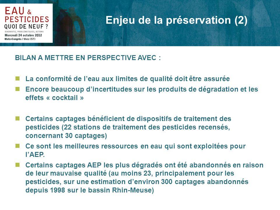 Enjeu de la préservation (2) BILAN A METTRE EN PERSPECTIVE AVEC : nLa conformité de leau aux limites de qualité doit être assurée nEncore beaucoup din