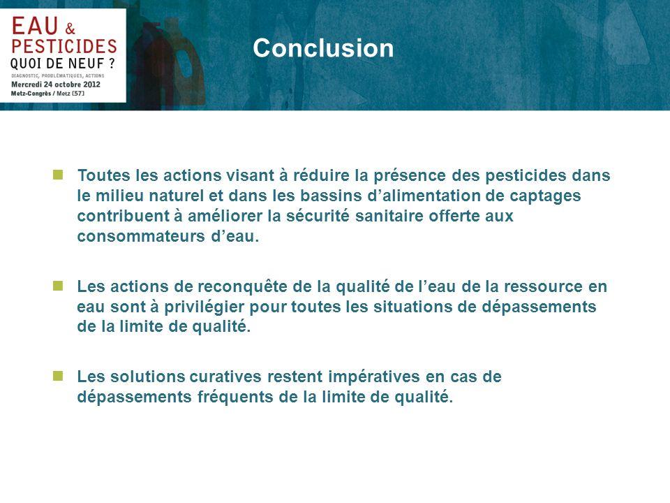 Conclusion nToutes les actions visant à réduire la présence des pesticides dans le milieu naturel et dans les bassins dalimentation de captages contri