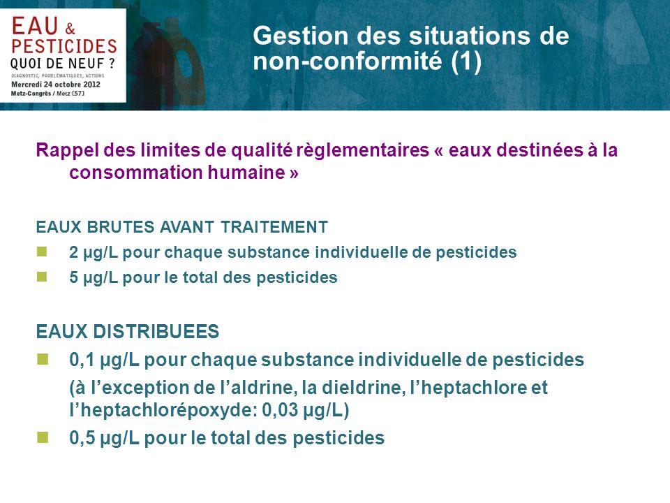 Gestion des situations de non-conformité (1) Rappel des limites de qualité règlementaires « eaux destinées à la consommation humaine » EAUX BRUTES AVA