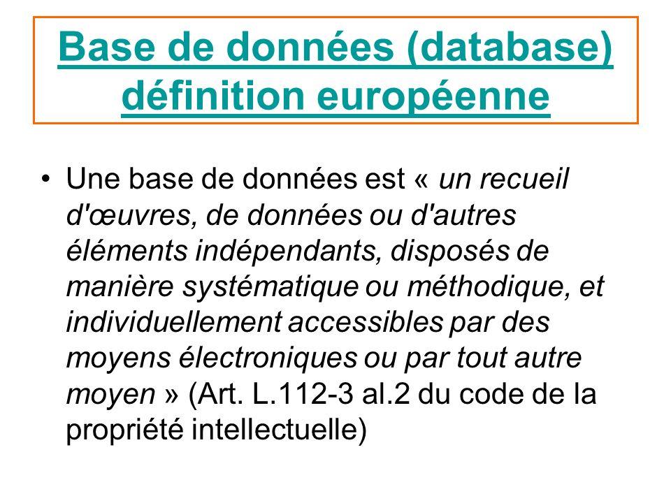 Base de données (database) définition européenne Une base de données est « un recueil d'œuvres, de données ou d'autres éléments indépendants, disposés