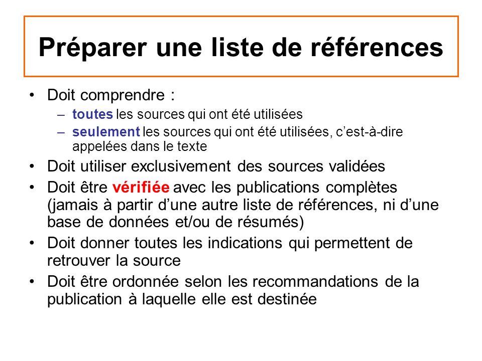 Préparer une liste de références Doit comprendre : –toutes les sources qui ont été utilisées –seulement les sources qui ont été utilisées, cest-à-dire