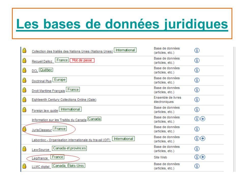 Les bases de données juridiques