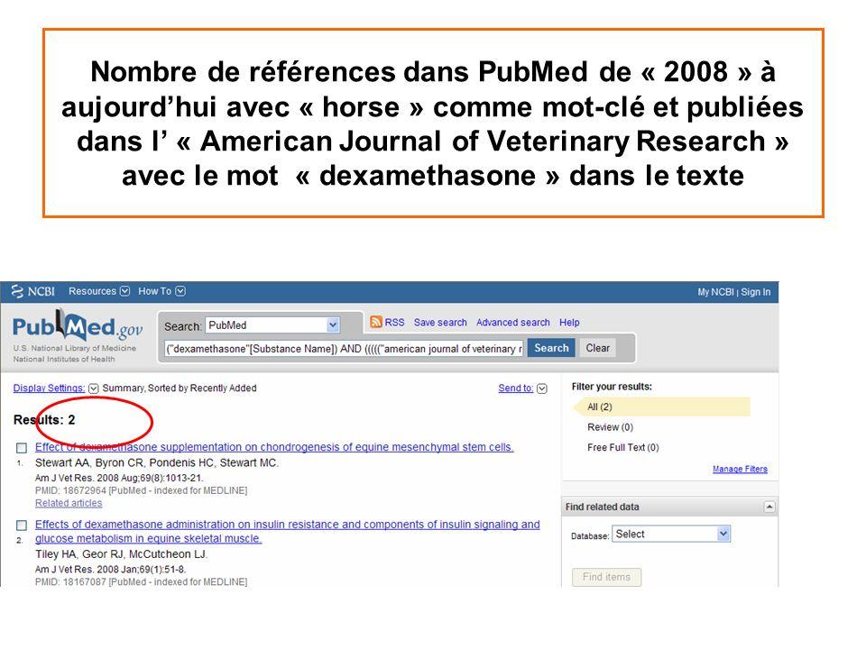 Nombre de références dans PubMed de « 2008 » à aujourdhui avec « horse » comme mot-clé et publiées dans l « American Journal of Veterinary Research »
