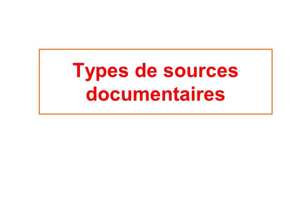 Types de sources documentaires