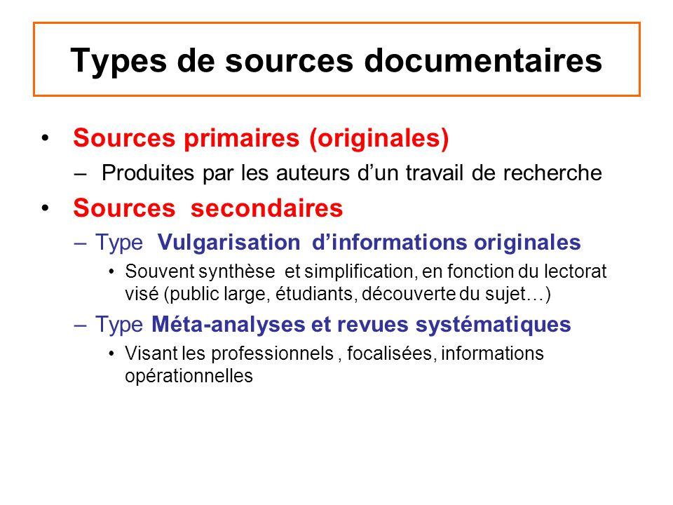 Sources primaires (originales) – Produites par les auteurs dun travail de recherche Sources secondaires –Type Vulgarisation dinformations originales S