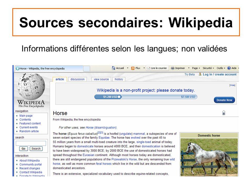 Sources secondaires: Wikipedia Informations différentes selon les langues; non validées
