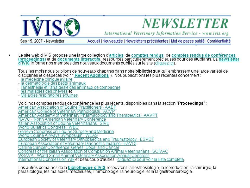 Le site web d'IVIS propose une large collection d'articles, de comptes rendus, de comptes rendus de conférences (proceedings) et de documents interact