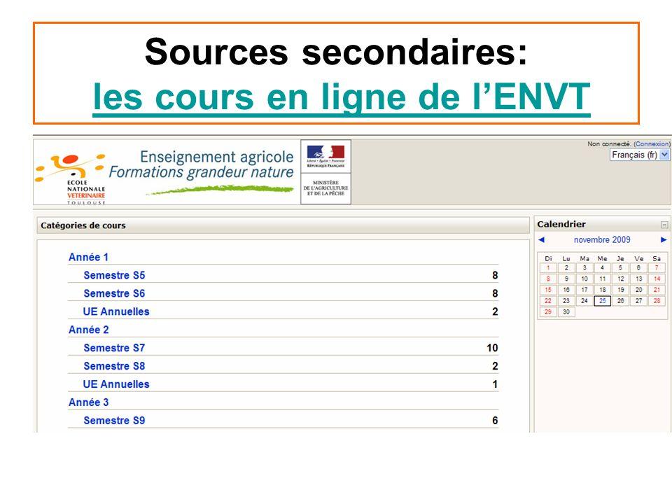 Sources secondaires: les cours en ligne de lENVTles cours en ligne de lENVT
