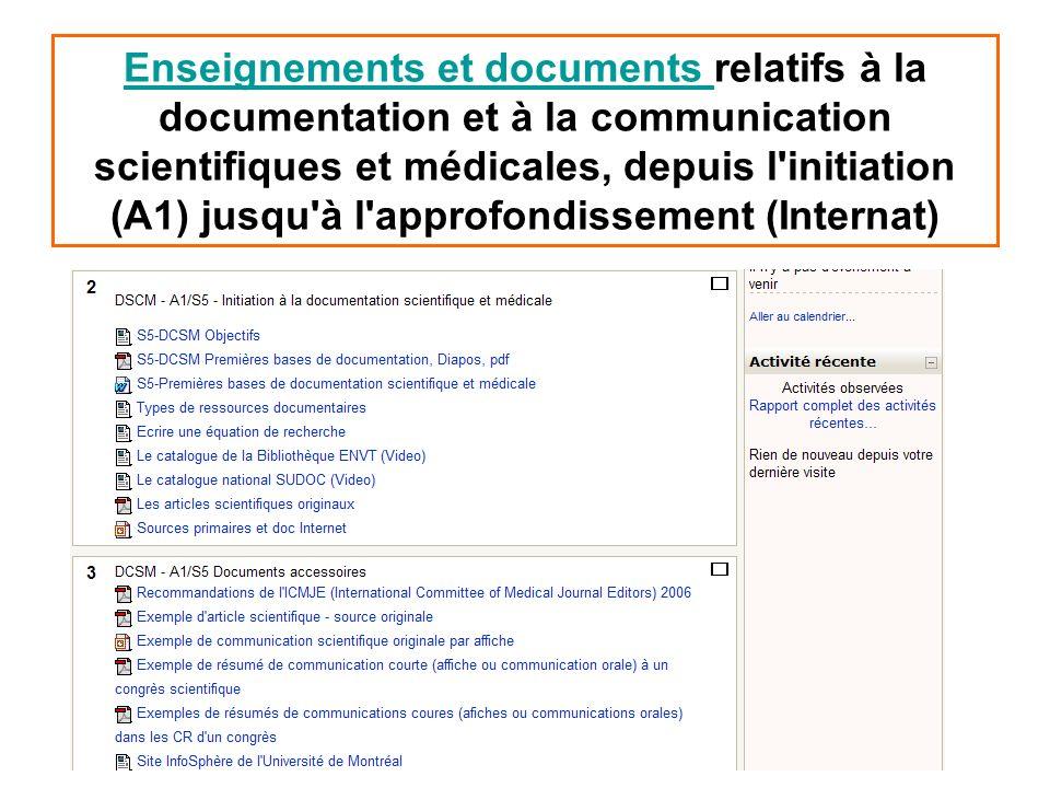 Enseignements et documents Enseignements et documents relatifs à la documentation et à la communication scientifiques et médicales, depuis l'initiatio
