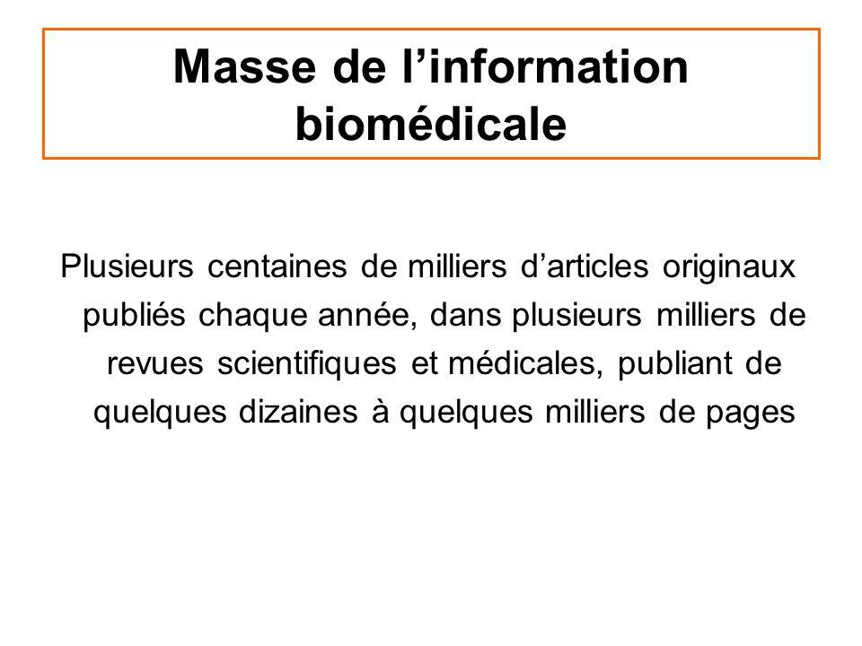 Masse de linformation biomédicale Plusieurs centaines de milliers darticles originaux publiés chaque année, dans plusieurs milliers de revues scientif